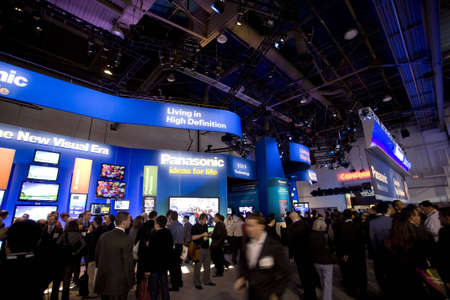 tradeshow: LAS VEGAS - JANUARY 8, 2009: A large crowd at the 2009 Consumer Electronic Show held in Las Vegas, Nevada, on January 8, 2009. Editorial