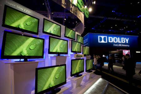 LAS VEGAS - JANUARY 8, 2009: An impressive wall of TVs at the 2009 Consumer Electronic Show held in Las Vegas, Nevada, on January 8, 2009.