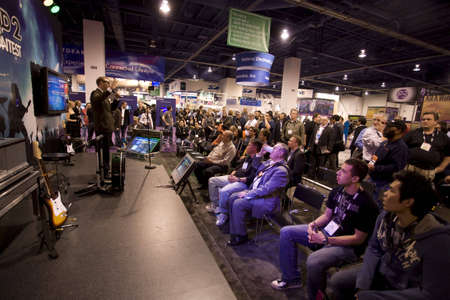 LAS VEGAS - JANUARY 8, 2009: The announcement of the Rockband 2 Contest at the 2009 Consumer Electronic Show held in Las Vegas, Nevada, on January 8, 2009. Stock Photo - 6884705