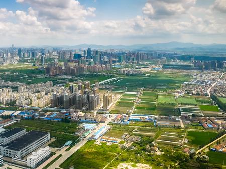urban sprawl: Aerial view of urban sprawl in Yinzhou district, Ningbo Stock Photo