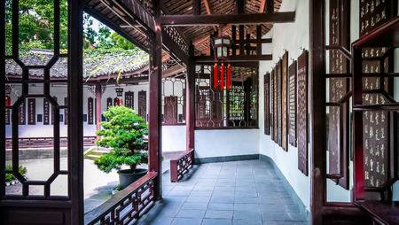 thatched cottage: A corridor with nanmu boards of abundant calligraphy in Du Fu Thatched Cottage Museum, Chengdu