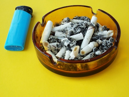 informational: Picture with nocive cigarettes and informational important text message for people Stock Photo