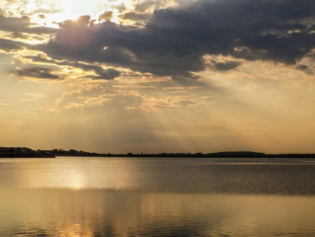 aqua: Beautiful dream sunset with blue sky and clouds o the Crangasi Lake from Bucharest