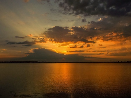 dream lake: Beautiful dream sunset with blue sky and clouds o the Crangasi Lake from Bucharest