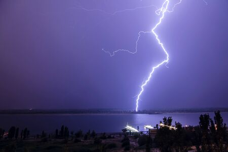volgograd: Lightning over the river Volga  Volgograd  Russia