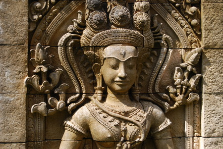 relievo: Statue of a woman  Angkor Wat Stock Photo