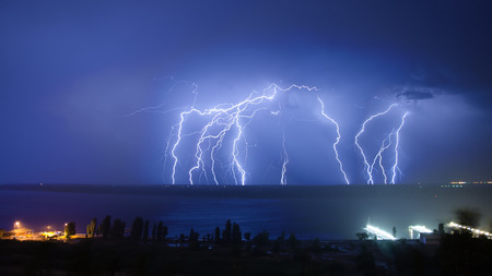 lough: Lightning hits Stock Photo
