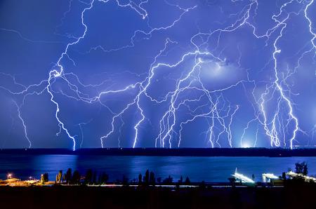 hits: Lightning hits Stock Photo