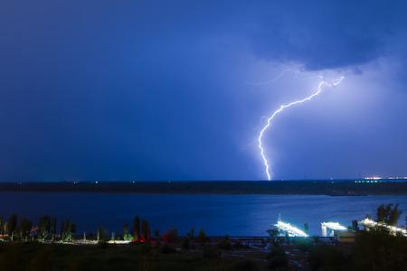 Lightning over the river Volga  Volgograd  Russia Stock Photo - 28998830