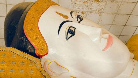 countenance: Reclining Buddha  Seinthalyaung Temple  Bago  Myanmar