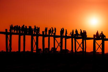 U Bein bridge. Mandalay. Myanmar. Stok Fotoğraf