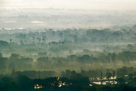 Foggy morning in Mandalay. Myanmar