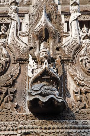 Carved figurines. Shwe Kyang monastery. Mandalay. Myanmar Stok Fotoğraf