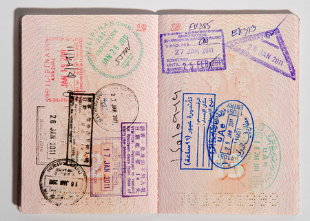 Russian passport stamped on border crossing