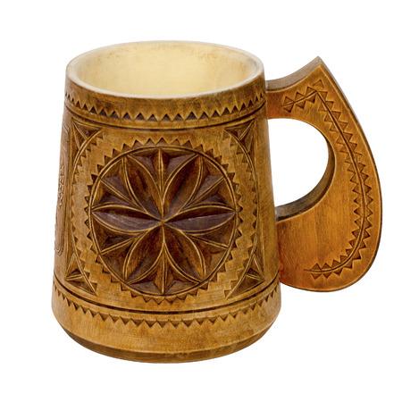 Wooden mug. Isolated on white