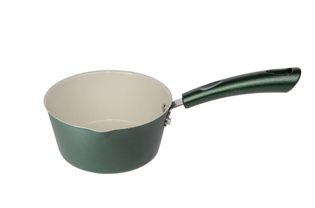 Green metal pot with a long handle. Isolated on white