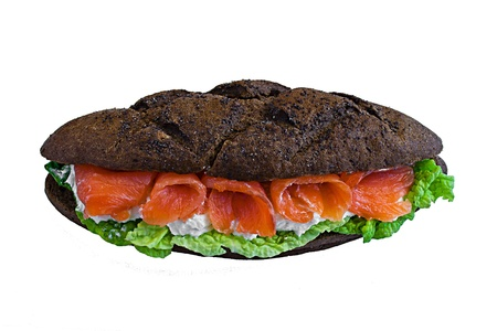 sandwich whis fish and black bread photo