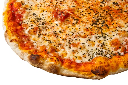 пицца на белом фоне Фото со стока
