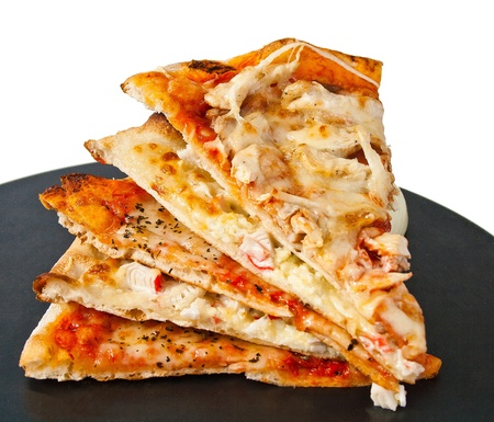 pizza on black round Stock Photo