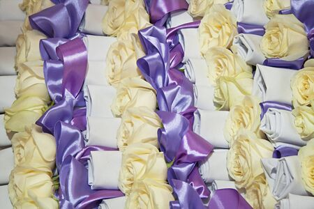 many white rose with ribbon for holiday Stock Photo