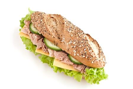 sandwich with tuna on white Stock Photo