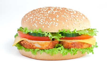 hamburger with chicken and vegetables Stock Photo