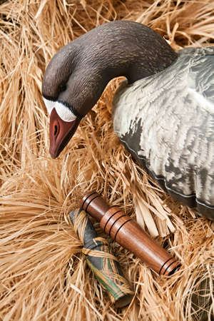goose decoy with stuffed and some calls photo
