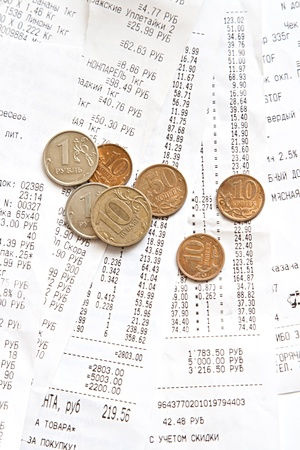 some printed bill and money from supermarket Stock Photo - 12814453