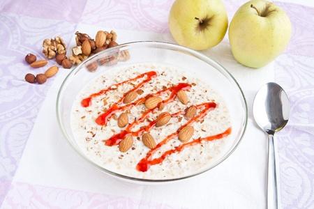 kasha: hot kasha with milk and nuts