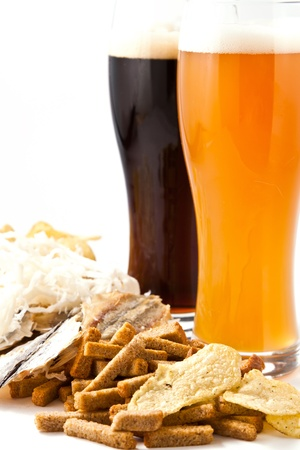 dark and light beer with any snack Stock Photo