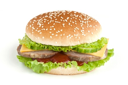 hamburger with meat and vegetables