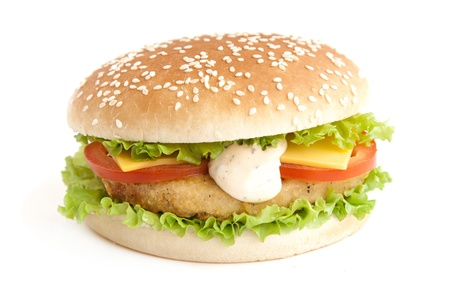 hamburger with roast cutlet and vegetables