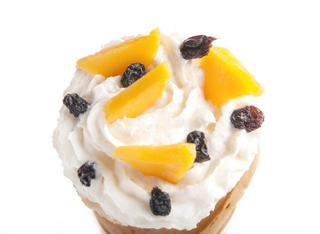 Rolled of cone thin pancakes with mango and raisins