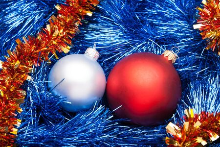 bright Decorated Christmas Garland with balls photo