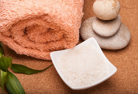 orange washcloth: sea salt and towels for spa relax