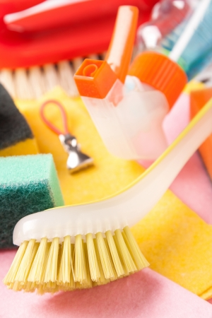 Assortment of colored means for cleaning and washing Stock Photo - 17193611