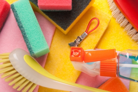 Assortment of colored means for cleaning and washing photo
