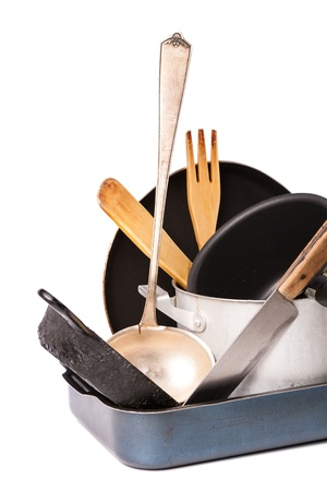 cook griddle: heap of kitchen bakeware with pans and pot Stock Photo