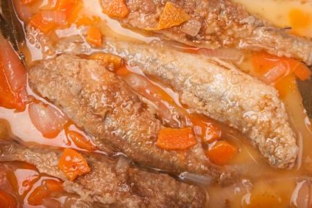 smelt: juicy snack a roast pickled smelt with carrots