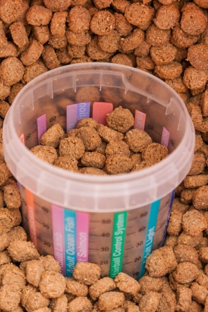 measured: dry brown grained pets food with measured glass