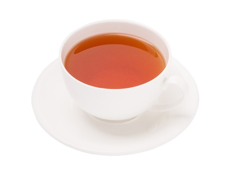 china cup of black tea on white background