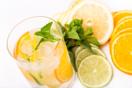 fresh cold cocktail in glass with sliced cituses Stock Photo - 20377811