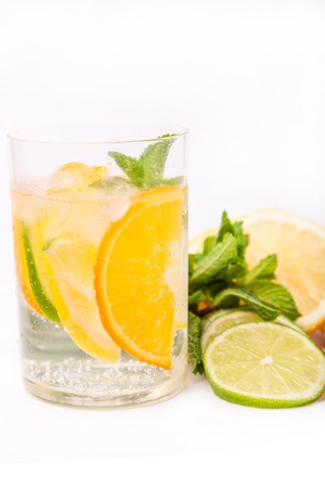 fresh cold cocktail in glass with sliced cituses Stock Photo - 20377808