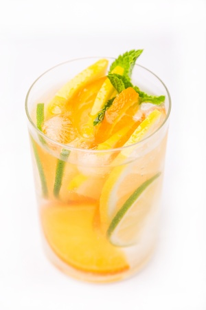 fresh cold cocktail in glass with sliced cituses Stock Photo - 20377805
