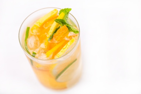 fresh cold cocktail in glass with sliced cituses Stock Photo - 20377806