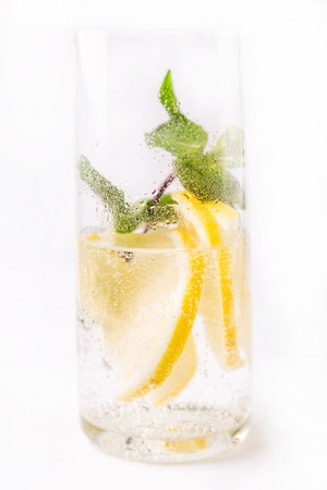 fresh cold cocktail in glass with sliced cituses Stock Photo - 20377807