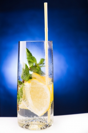 fresh cold cocktail in glass with sliced cituses Stock Photo - 20377815