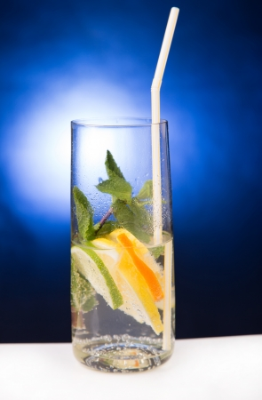 fresh cold cocktail in glass with sliced cituses Stock Photo - 20377814