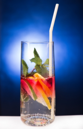 fresh cold cocktail in glass with sliced cituses Stock Photo - 20377816