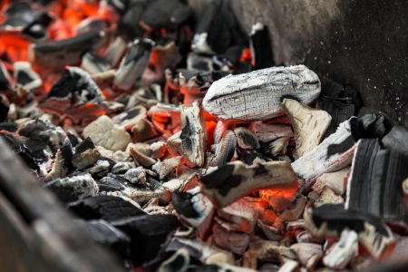 hot close up charcoal in barbecue photo